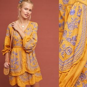 Anthropologie Lissette embroidered tunic dress